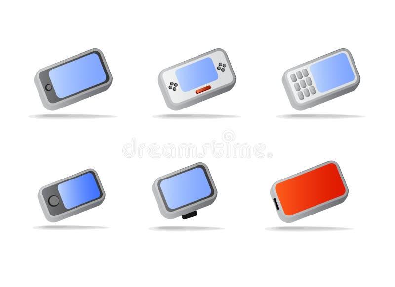 телефон икон приборов электронный иллюстрация вектора