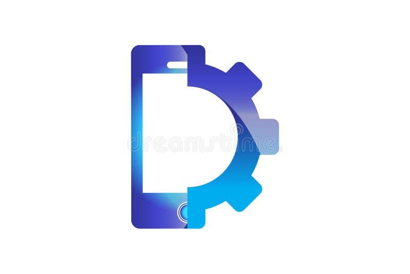 Телефон и шестерня, логотип телефона обслуживания конструируют воодушевленность изолированный на белой предпосылке бесплатная иллюстрация