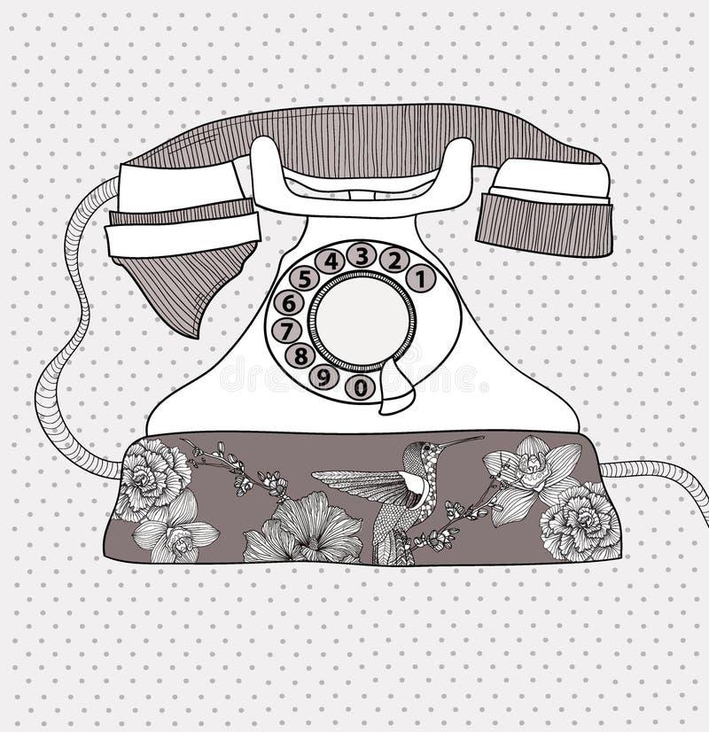 телефон картины цветков птиц ретро иллюстрация штока