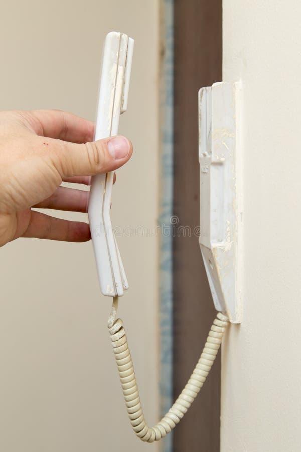 Телефон прикрепленный к стене стоковое изображение rf