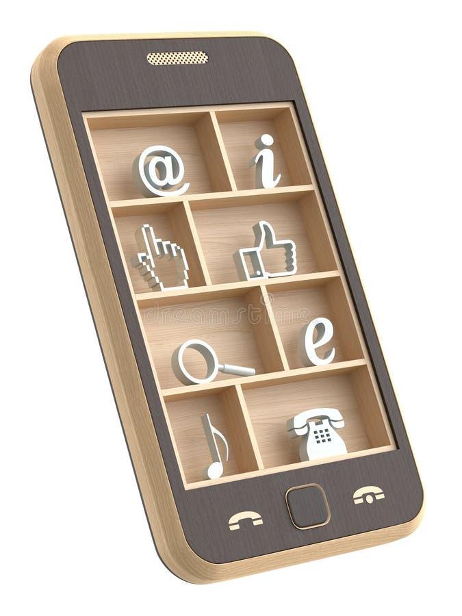 телефон принципиальной схемы деревянный бесплатная иллюстрация