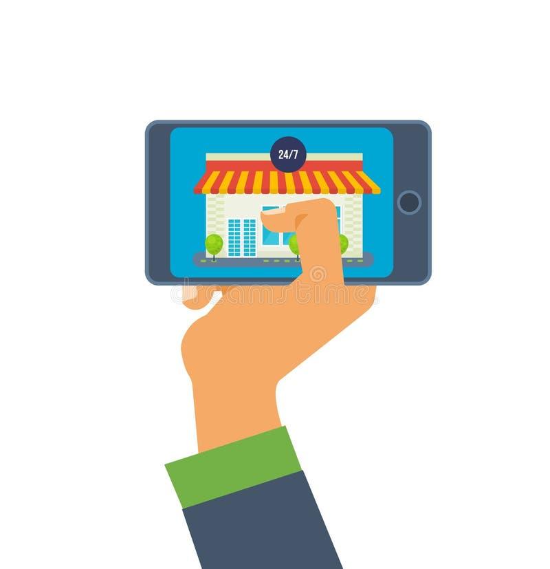 телефон руки звонока изолированный владением Онлайн магазин на smartphone применения передвижные иллюстрация штока