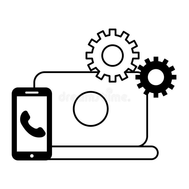 Телефон смартфона ноутбука зацепляет центр телефонного обслуживания бесплатная иллюстрация