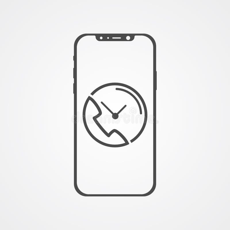 Телефон с символом знака значка вектора звонка иллюстрация вектора