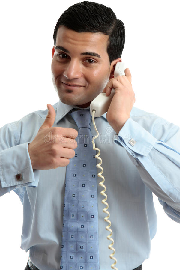 телефон успеха бизнесмена используя стоковое изображение rf