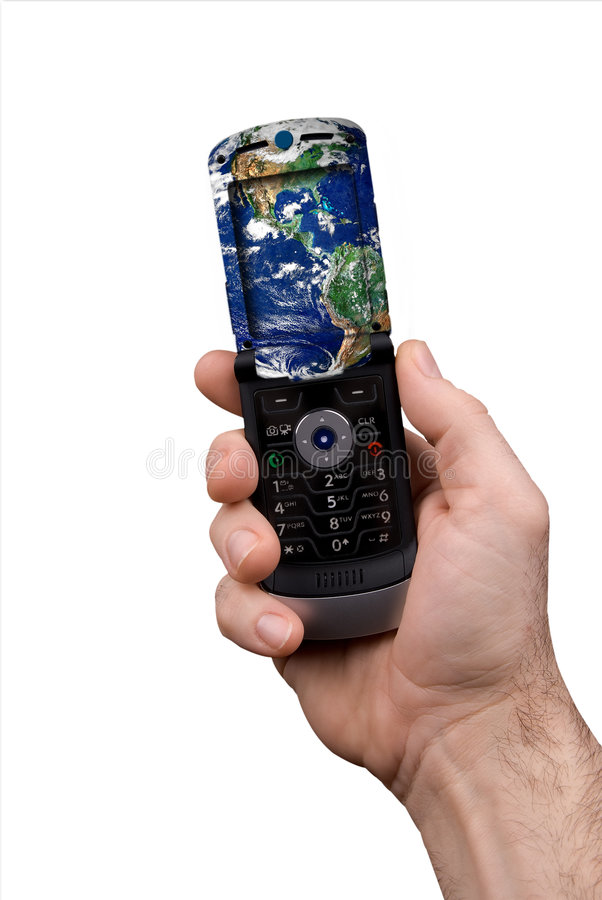 телефон человека удерживания глобуса клетки иллюстрация штока