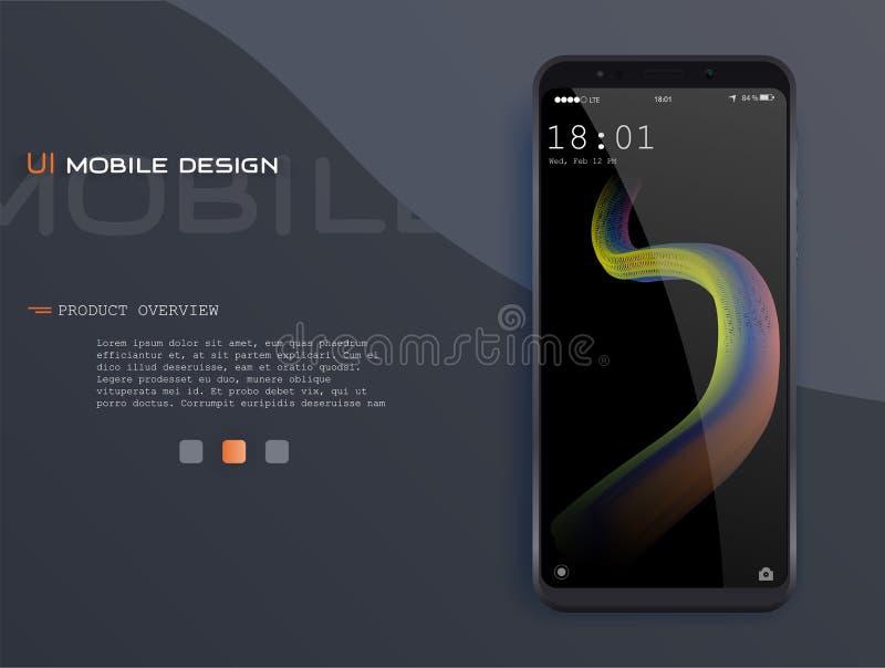Телефон шаблона Материальный план дизайна UI, UX и GUI с лоснистыми начальными экранами иллюстрация штока