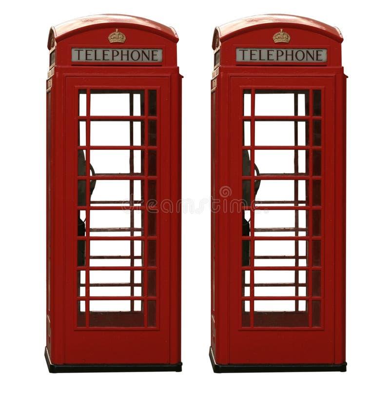 телефон 2 коробки великобританский классицистический изолированный красный стоковые изображения rf