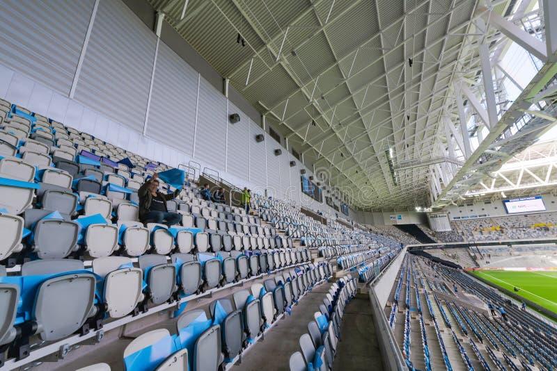 Теле2 ареной во время матча между Джургарденом и АИК в каменистом футболе Алсвенскан стоковые изображения rf