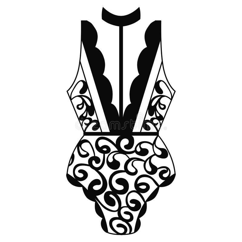 тело Женское бельё кружевное женское бельё иллюстрация вектора