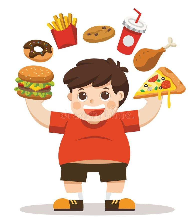 Тело мальчика нездоровое от еды высококалорийной вредной пищи иллюстрация вектора