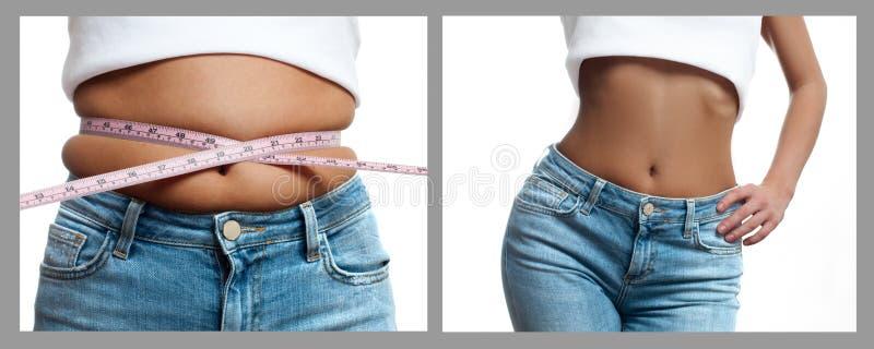 Тело ` s женщины перед и после потерей веса диетпитание принципиальной схемы стоковая фотография rf