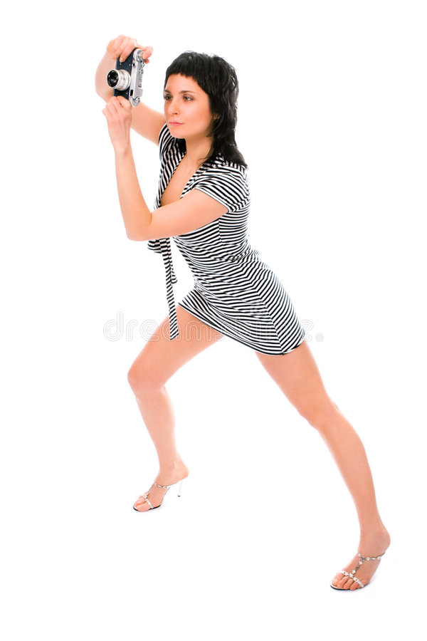 тельняшка матроса фотографа s фото девушки камеры красотки стоковое фото rf