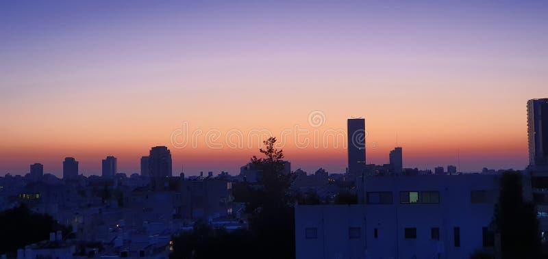Тель-Авивское закатное небо стоковое фото rf