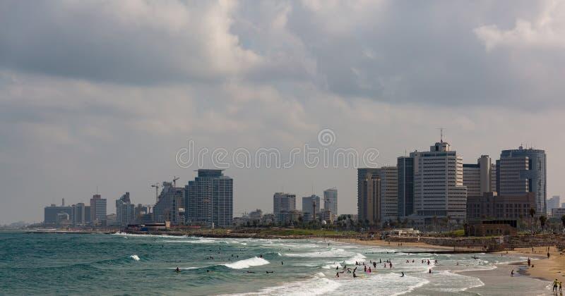 Тель-Авив Израиль, пляж взгляда панорамы стоковое фото