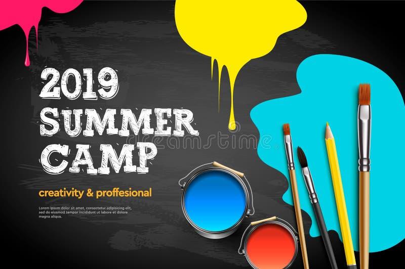Тематический плакат 2019 летнего лагеря Ремесло искусства детей, образо иллюстрация вектора