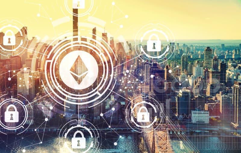 Тема безопасностью Ethereum с Нью-Йорком стоковое изображение rf