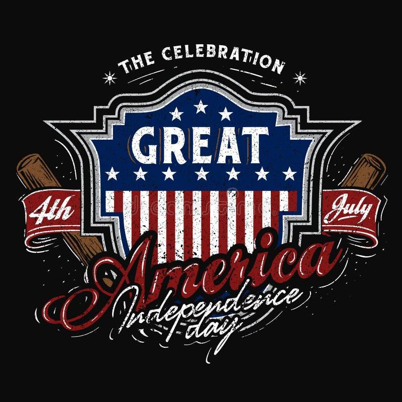 Тема бейсбола значка 4-ое июля Америки бесплатная иллюстрация