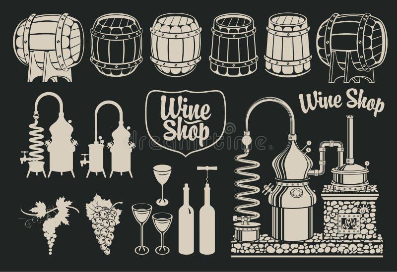 Тема винных изделий иллюстрация вектора
