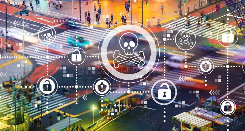 Тема вируса и аферы с пересечением городского транспорта стоковые изображения