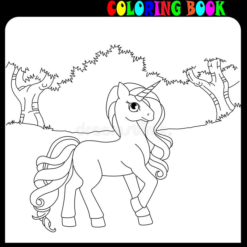Тема единорога, лошади или пони книжка-раскраски в саде или лесе бесплатная иллюстрация