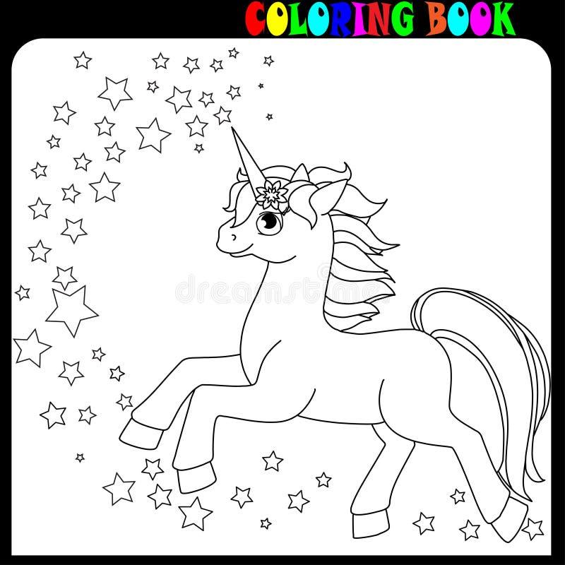 Тема единорога, лошади или пони книжка-раскраски со звездами иллюстрация штока
