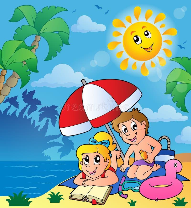 Тема лета с детьми на пляже иллюстрация вектора