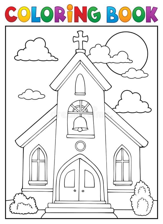 Тема 1 здания церкви книжка-раскраски иллюстрация вектора