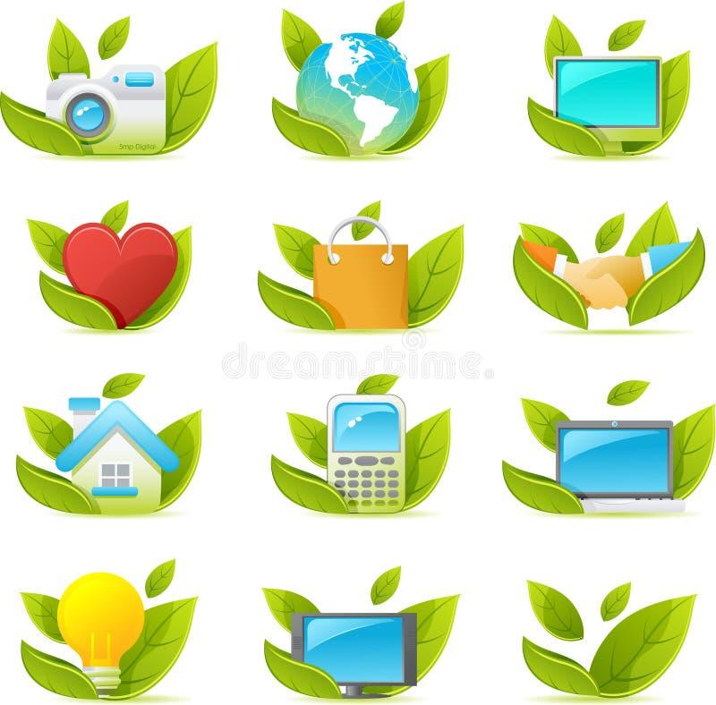 тема зеленого nouve иконы установленная иллюстрация штока