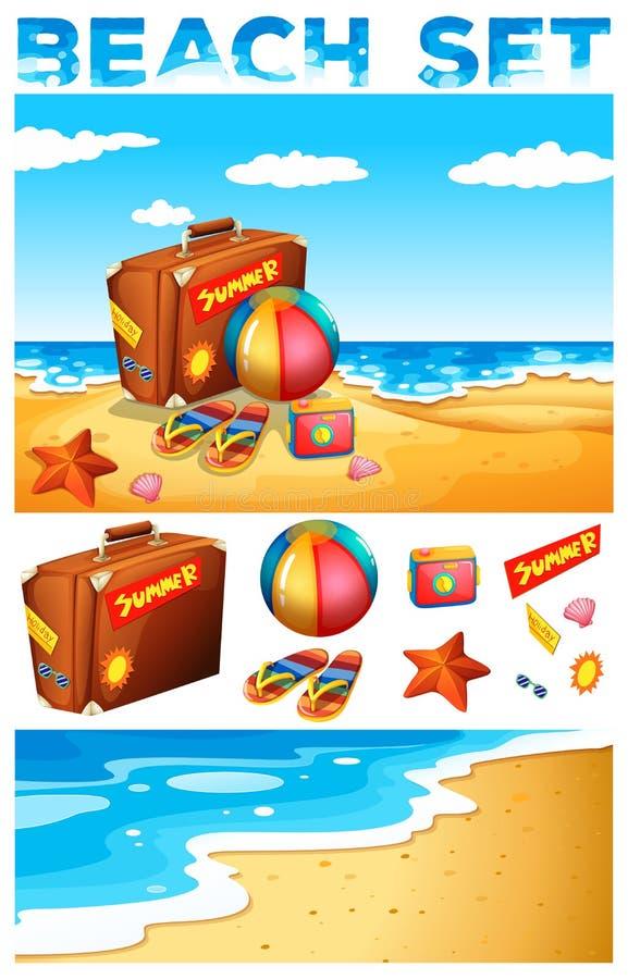 Тема каникул на пляже бесплатная иллюстрация