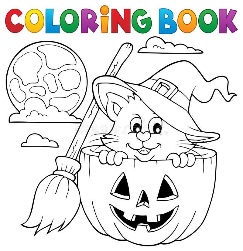 Тема 1 кота хеллоуина книжка-раскраски иллюстрация вектора