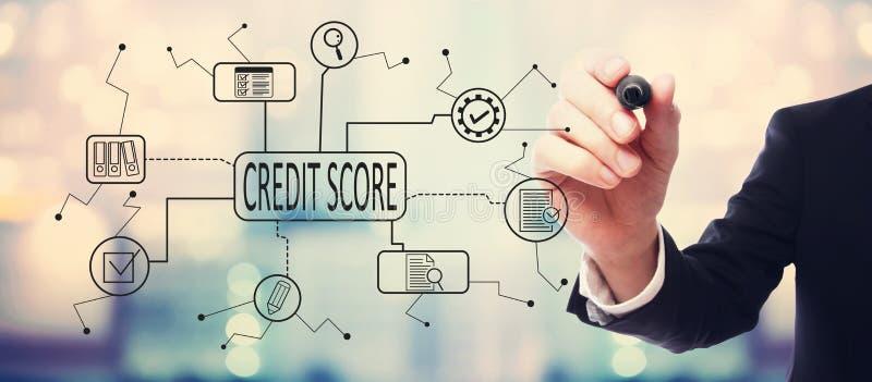Тема кредитного рейтинга с бизнесменом иллюстрация вектора
