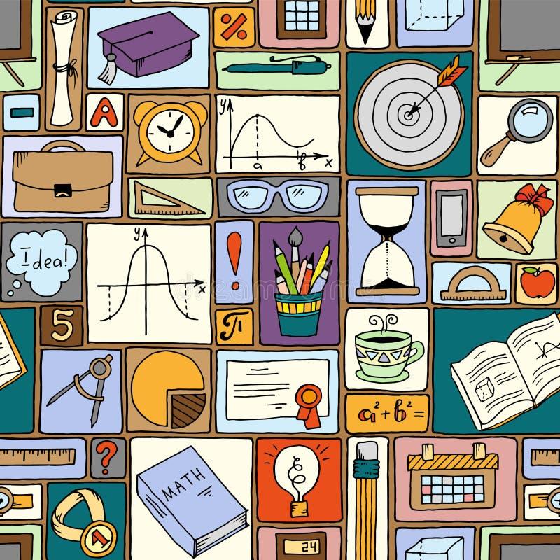Тема математики науки Предпосылка вектора школы Картина стиля Doodle безшовная иллюстрация штока