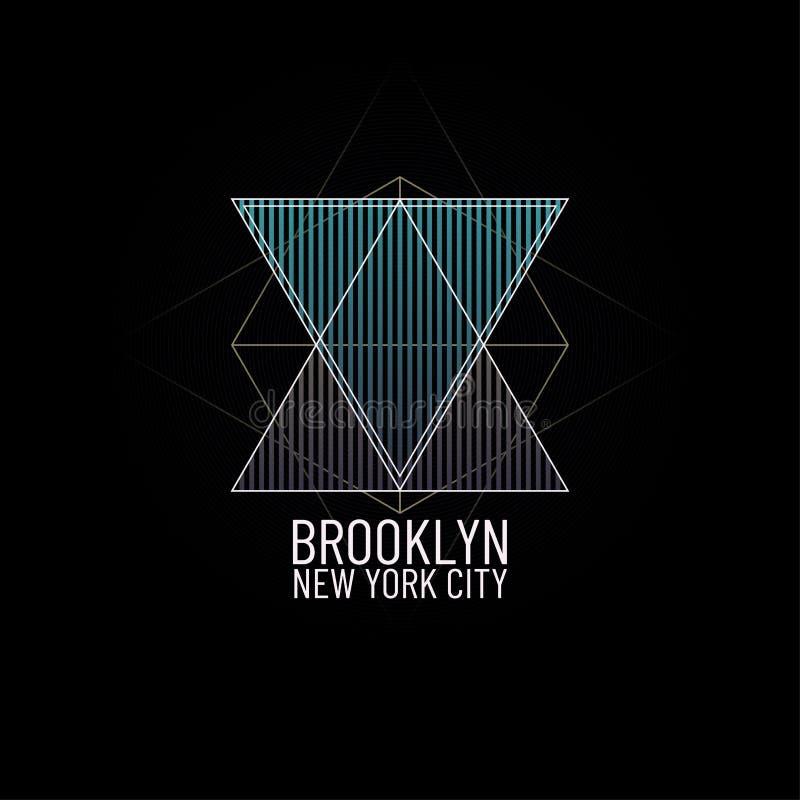 Тема Нью-Йорк Бруклин Иллюстрация печати геометрической минимальной футболки графическая Ретро grunge треугольника и год сбора ви иллюстрация штока
