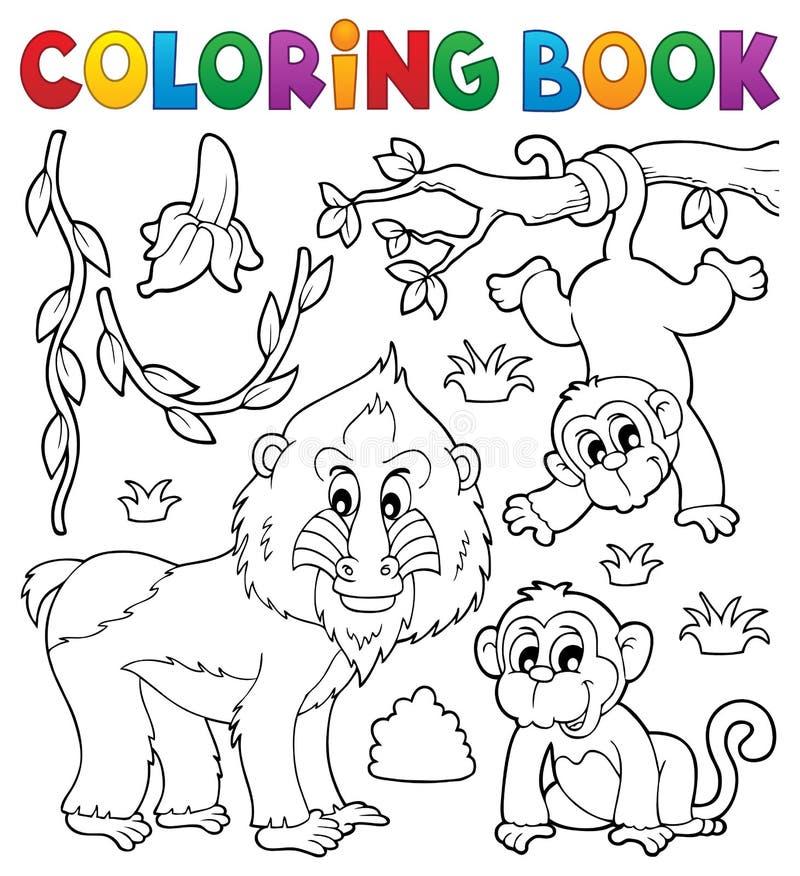 Тема 4 обезьяны книжка-раскраски иллюстрация штока