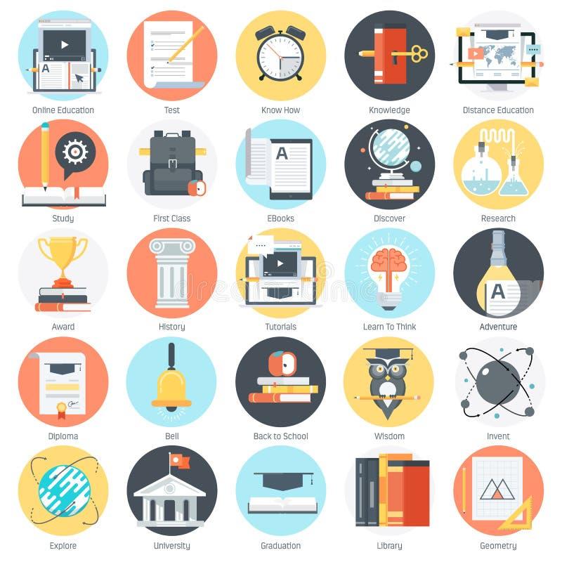 Тема образования, плоский стиль, красочный, комплект значка бесплатная иллюстрация