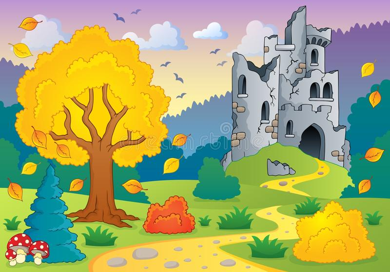 Тема осени с руинами 1 замка бесплатная иллюстрация