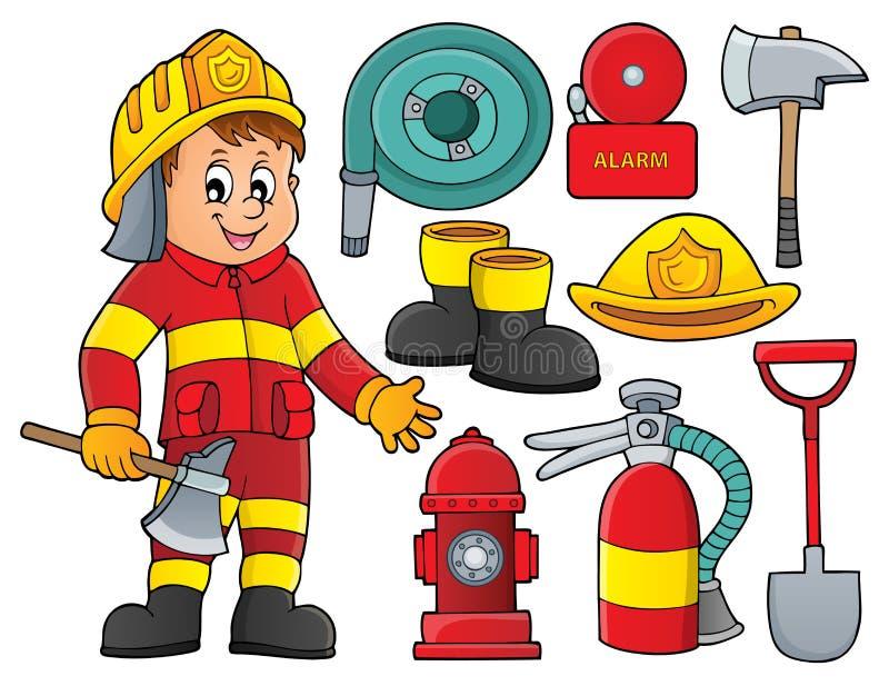 Тема пожарного установила 2 бесплатная иллюстрация
