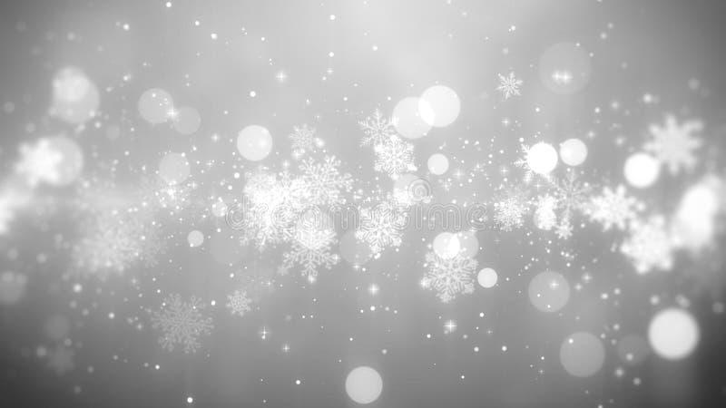 Тема предпосылки рождества белая, с снежинкой освещает в стильной и элегантной теме стоковые изображения rf