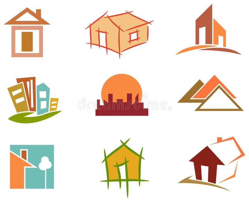 тема различной недвижимости логотипов иконы дома имущества реальной установленная иллюстрация вектора