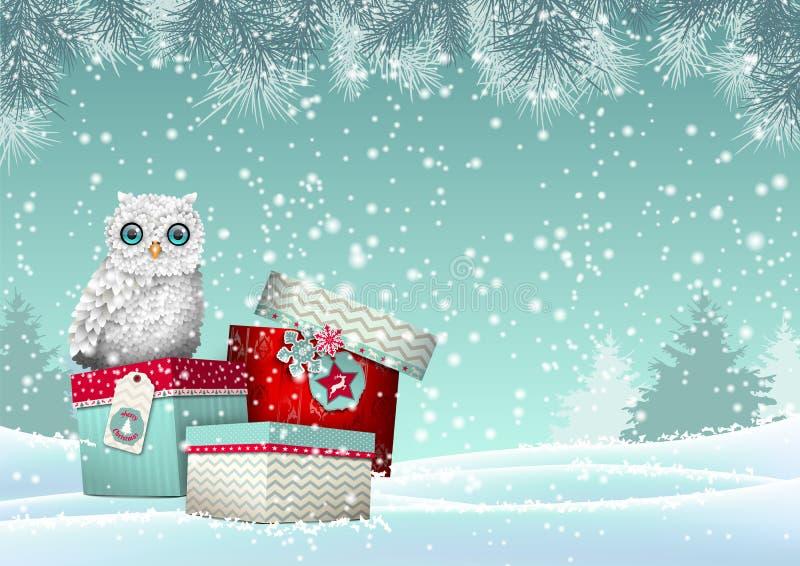 Тема рождества, белый сыч сидя на группе в составе подарочные коробки в снежном ландшафте, иллюстрации иллюстрация вектора