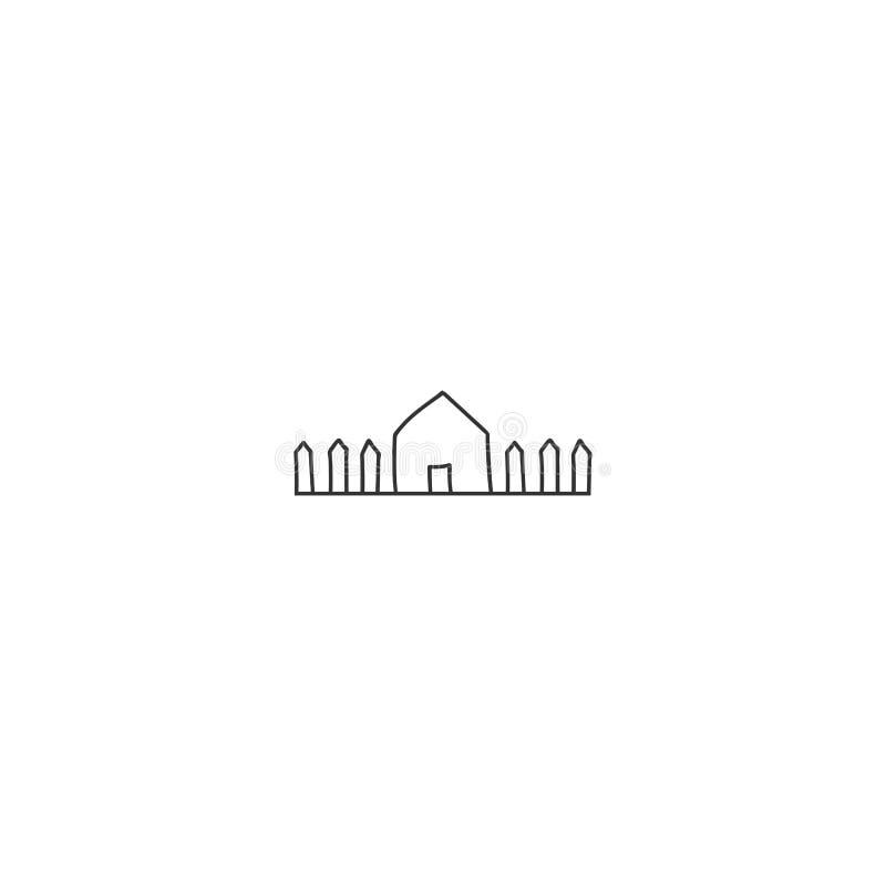 Тема свойства арендная Иллюстрация вектора руки вычерченная, значок загородного дома бесплатная иллюстрация