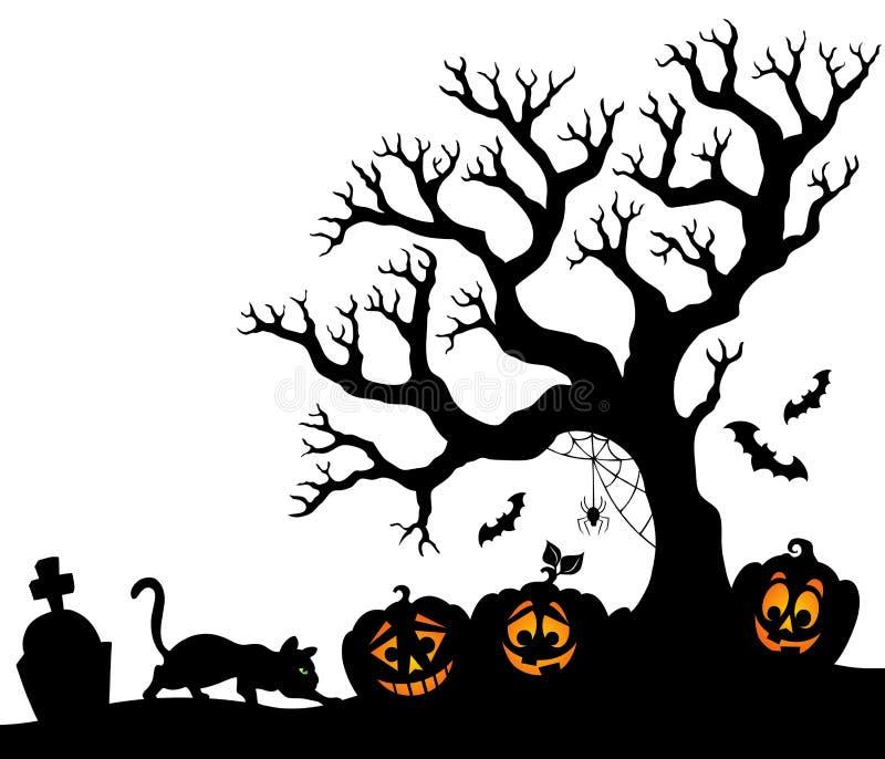 Тема 1 силуэта дерева хеллоуина бесплатная иллюстрация