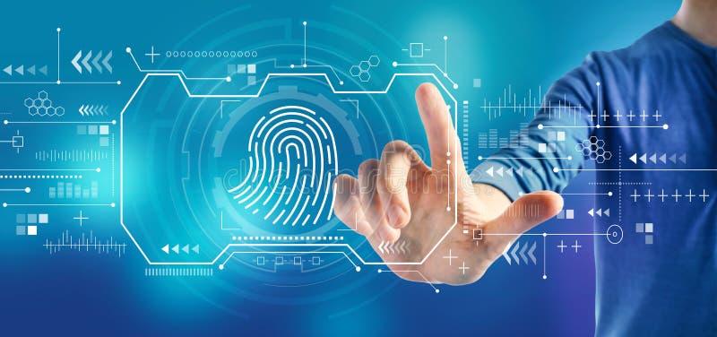 Тема сканирования отпечатка пальцев с человеком стоковое изображение