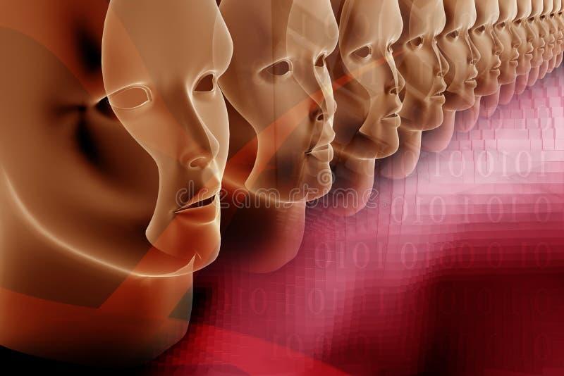 тема состава дела цифровая пурпуровая красная иллюстрация вектора
