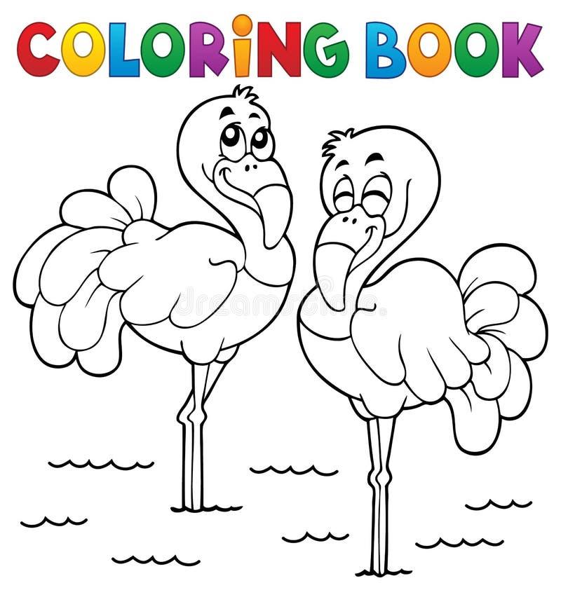 Тема 1 фламинго книжка-раскраски иллюстрация вектора