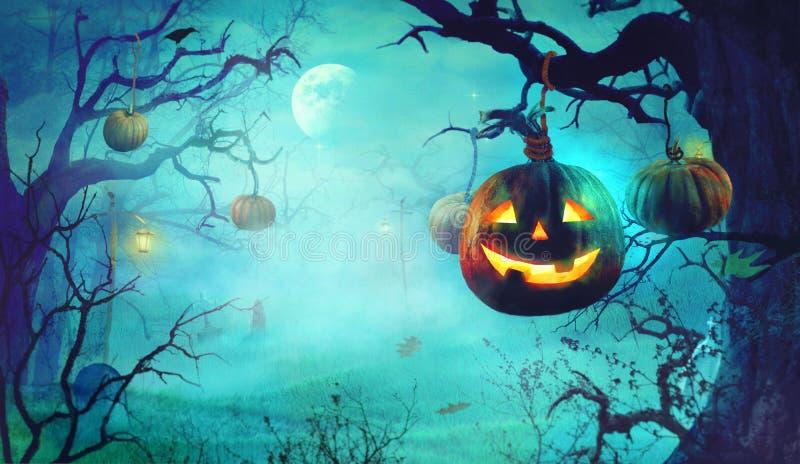 Тема хеллоуина с тыквами и темным лесом пугающим хеллоуином стоковое изображение rf