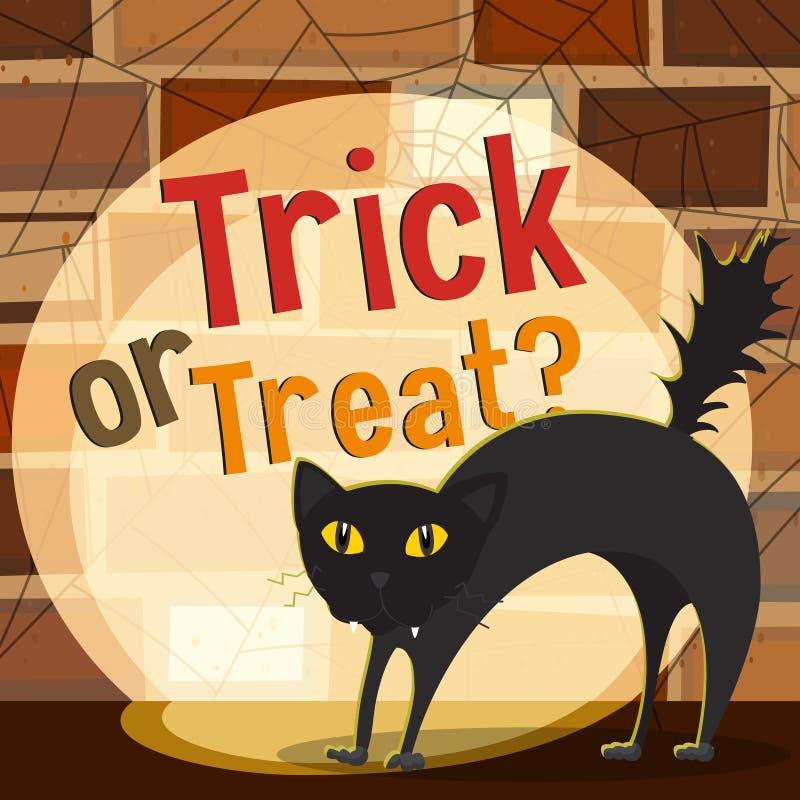Тема хеллоуина с черным котом иллюстрация вектора