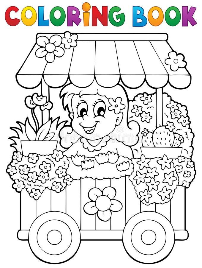 Тема 1 цветочного магазина книжка-раскраски иллюстрация вектора