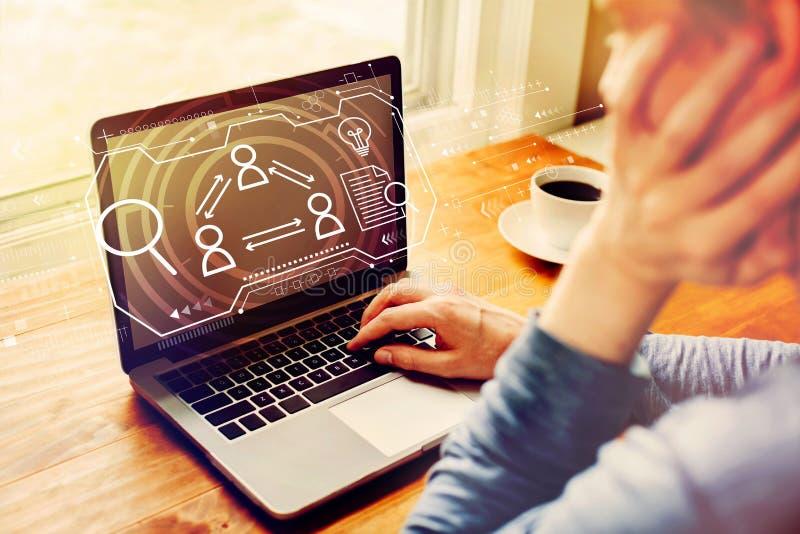 Тема человеческих ресурсов с человеком используя ноутбук стоковое фото rf